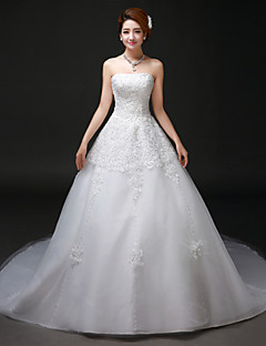 linie kaple vlak svatební šaty -strapless tyl