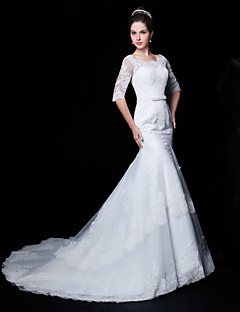 Trumpet/Mermaid Wedding Dress - White Court Train Scoop Lace/Organza/Charmeuse
