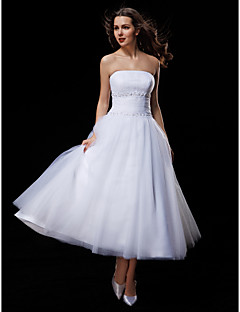 ball gown strapless tea length tulle wedding dress with beading draped ruche by lan ting bride
