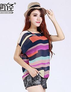 più XXXL multi-colore della stampa manica corta o-collo allentato chiffon casuale magliette delle donne