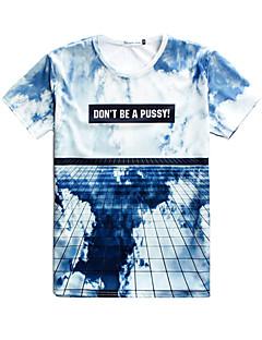 Strand/Informeel/Opdruk/Schattig/Feest/Zakelijk Rond - MEN - T-shirts ( Katoenmengeling )met Korte Mouw