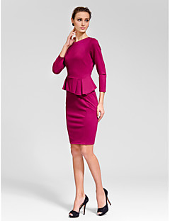 Cocktail Party Dress Sheath/Column Jewel Knee-length Polyester