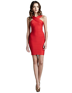 Alice&Elmer Rayon Crisscross Short/Mini  Sheath/Column Bandage Dress