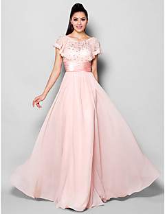 TS Couture® Formal Evening Dress Plus Size / Petite A-line Jewel Floor-length Chiffon with Crystal Detailing / Lace / Ruching