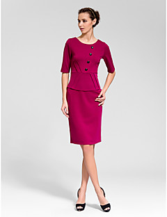 Cocktail Party Dress - Fuchsia Sheath/Column Jewel Knee-length Polyester