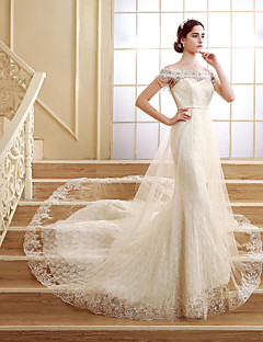 Trumpet / Mermaid Petite Wedding Dress Court Train Off-the-shoulder Lace with