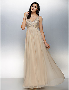 TS Couture Formal Evening Dress - Champagne Plus Sizes / Petite A-line V-neck Floor-length Chiffon