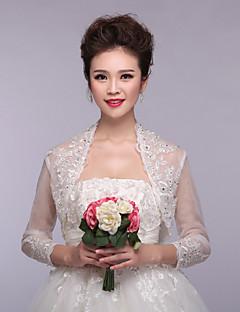 mariage enveloppe boléros 3/4 longueur manches en dentelle / polyester enveloppements élégantes boléro blanc haussement