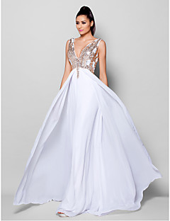 Formal Evening Dress - White A-line V-neck Sweep/Brush Train Chiffon