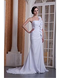 웨딩 드레스 트럼펫/멀메이드 쿼트 트레인 원 숄더 쉬폰