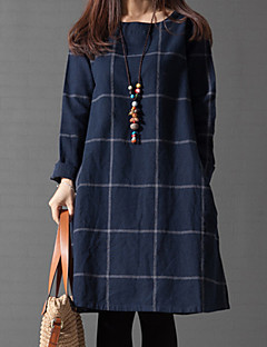 Women's Casual/Daily Cute A Line / Loose Dress,Solid / Check Round Neck Knee-length Long Sleeve Blue Cotton All Seasons