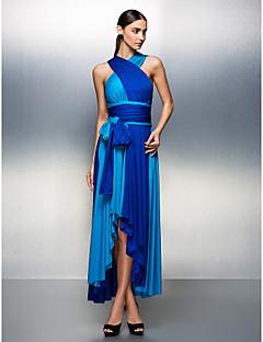 Aライン Vネック アシメントリー ジャージー 卒業パーティー フォーマルイブニング ドレス とともに サッシュ/リボン プリーツ 〜によって TS Couture®