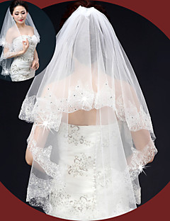 Two-tier - Lace Applique Edge - Angel cut/Waterfall - Elbow Veils ( Ivory , Embroidery/Lovertje )
