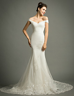 Trumpet/Mermaid Court Train Wedding Dress -Off-the-shoulder Tulle