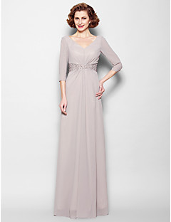 Sheath/Column Mother of the Bride Dress Floor-length 3/4 Length Sleeve Georgette