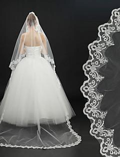 Свадебные вуали Один слой Фата для венчания Кружевная кромка 118,11 в (300см) Тюль Кружево Цвет слоновой кости