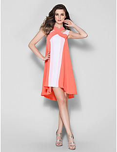 Cocktail Party Dress - Multi-color Plus Sizes / Petite A-line Straps Asymmetrical Chiffon