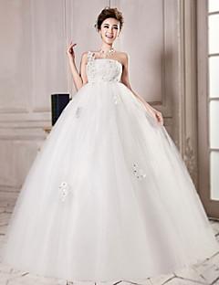 Magnifique robe de mariée bsutier à une bretelle brodée de strass