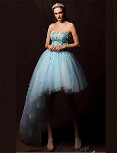 동창회 공식적인 저녁 드레스 - 하늘색 줄 연인 비대칭 얇은 명주 그물