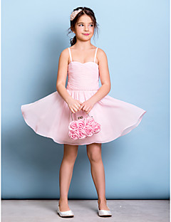 Knee-length Chiffon Junior Bridesmaid Dress - Blushing Pink A-line Spaghetti Straps
