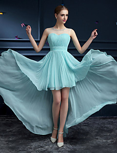 Formal Evening Dress Sheath/Column Jewel Asymmetrical Chiffon/Organza Dress