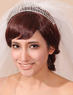 Veli da sposa 3 strati Accessori per capelli con velo Bordo smussato Tulle Bianco Bianco