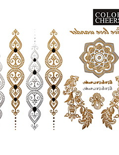 1Pc Gold And Silver Long Bracelet Tattoo Sticker 23x15.5CM
