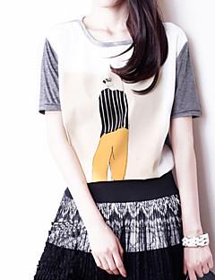 여성 - 캐쥬얼/프린트/파티/회사 원형 짧은 소매 - 티셔츠 ( 면 )