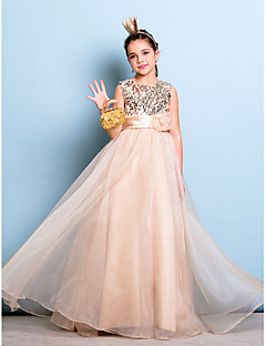 Floor-length Organza / Sequined Junior Bridesmaid Dress A-line Jewel Natural with Flower(s) / Sash / Ribbon / Sequins
