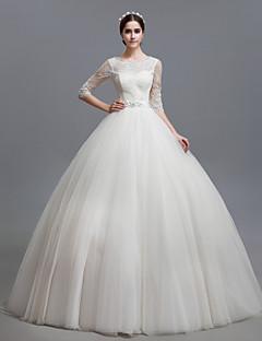 웨딩 드레스 볼 가운 바닥 길이 스쿱 튤