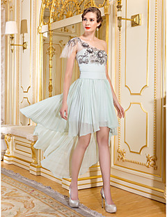 Homecoming Sheath/Column One Shoulder Knee-length Tulle Cocktail Dress(Green)