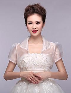 bruiloft wraps bolero met korte mouwen organza / polyester elegante wraps witte bolero schouderophalen