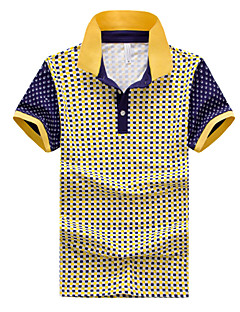 Men's Casual/Work/Formal/Sport/Plus Sizes Plaids & Checks Short Sleeve Regular Polo (Cotton)