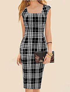 vestido de decote quadrado do vintage das mulheres, misturas de algodão preto sexy / bodycon / casual / trabalho
