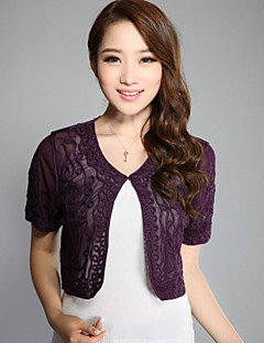 Wedding Wraps Boleros Short Sleeve Polyester Party/Casual Hook Flower Boleros Black/White/Green/Purple Bolero Shrug