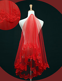 One-tier - Lace Applique Edge - Classic - Elbow Veils ( Red , Embroidery )