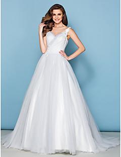 A-line Wedding Dress Court Train V-neck Tulle