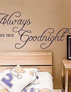 altijd kus me goodnight citaat muurtattoo zooyoo2003 decoratieve adesivo de parede verwijderbare muur sticker