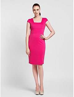 Cocktail Party Dress - Fuchsia/Royal Blue/Champagne Sheath/Column Square Knee-length Polyester