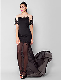 TS Couture® Formal Evening Dress - See Through Plus Size / Petite Sheath / Column Jewel Sweep / Brush Train Chiffon / Jersey with Appliques / Beading