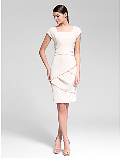 Homecoming Cocktail Party Dress - Champagne/Black Sheath/Column Square Knee-length Polyester