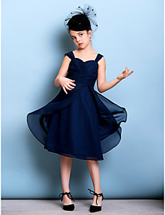 Knee-length Chiffon Junior Bridesmaid Dress - Dark Navy A-line Straps