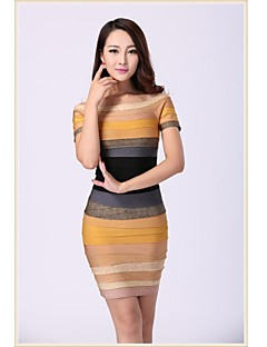 Column Scoop Short/Mini Spandex/Nylon Taffeta/Rayon Bandage Dress