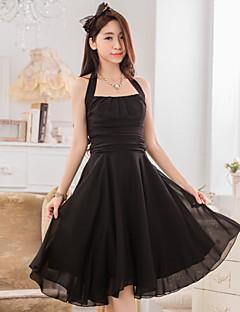 Cocktail Party Dress - Burgundy / Jade / Black A-line Halter Knee-length Chiffon