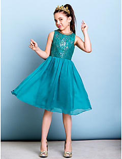 Knee-length Chiffon / Sequined Junior Bridesmaid Dress - Jade A-line Jewel