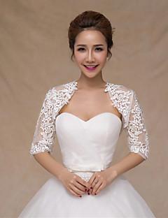 결혼식 볼레로 반소매 레이스 / 새틴 얇은 신부는 흰색 볼레로 어깨를 으쓱 랩 랩