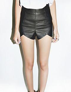 Women's Black Shorts Pants , Vintage/Sexy/Bodycon/Casual Zipper/Ruffle