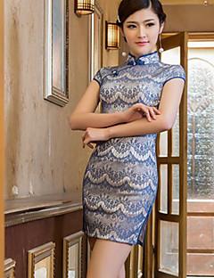 Dress Sheath/Column High Neck Short/Mini Cotton Dress