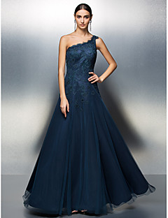 TS Couture Prom / Formal Evening Dress - Dark Navy Plus Sizes / Petite A-line One Shoulder Floor-length Tulle