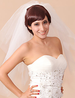 Wedding Veil Three-tier Elbow Veils Pencil Edge 31.5 in (80cm) Tulle White